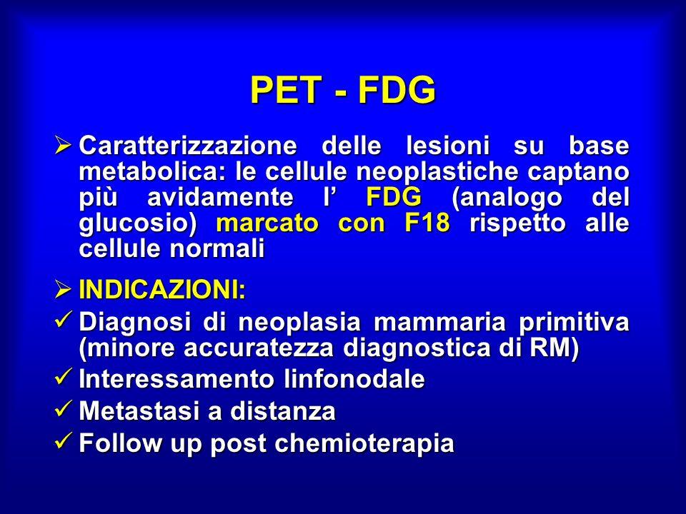 PET - FDG Caratterizzazione delle lesioni su base metabolica: le cellule neoplastiche captano più avidamente l FDG (analogo del glucosio) marcato con F18 rispetto alle cellule normali Caratterizzazione delle lesioni su base metabolica: le cellule neoplastiche captano più avidamente l FDG (analogo del glucosio) marcato con F18 rispetto alle cellule normali INDICAZIONI: INDICAZIONI: Diagnosi di neoplasia mammaria primitiva (minore accuratezza diagnostica di RM) Diagnosi di neoplasia mammaria primitiva (minore accuratezza diagnostica di RM) Interessamento linfonodale Interessamento linfonodale Metastasi a distanza Metastasi a distanza Follow up post chemioterapia Follow up post chemioterapia