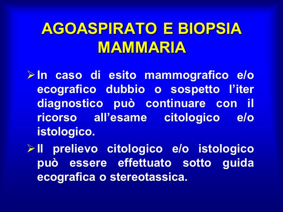 AGOASPIRATO E BIOPSIA MAMMARIA In caso di esito mammografico e/o ecografico dubbio o sospetto liter diagnostico può continuare con il ricorso allesame citologico e/o istologico.