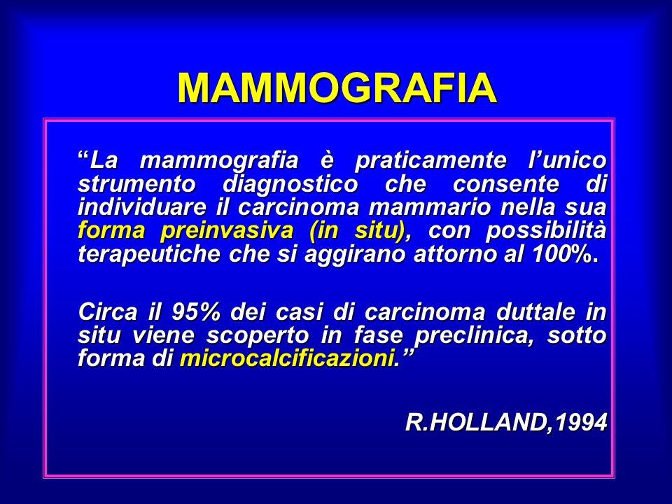 MAMMOGRAFIA La mammografia è praticamente lunico strumento diagnostico che consente di individuare il carcinoma mammario nella sua forma preinvasiva (in situ), con possibilità terapeutiche che si aggirano attorno al 100%.