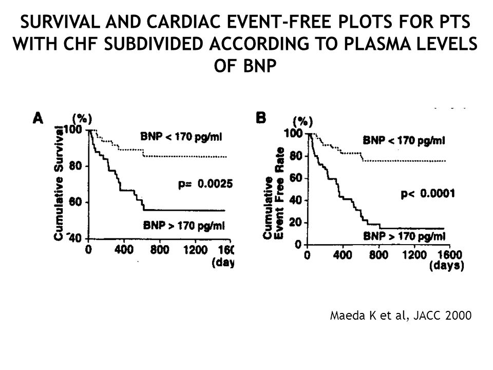 SURVIVAL AND CARDIAC EVENT-FREE PLOTS FOR PTS WITH CHF SUBDIVIDED ACCORDING TO PLASMA LEVELS OF BNP Maeda K et al, JACC 2000