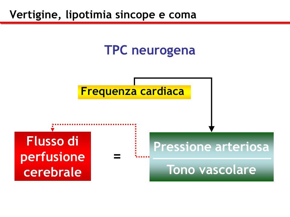 Vertigine, lipotimia sincope e coma Frequenza cardiaca Flusso di perfusione cerebrale Pressione arteriosa Tono vascolare = TPC neurogena