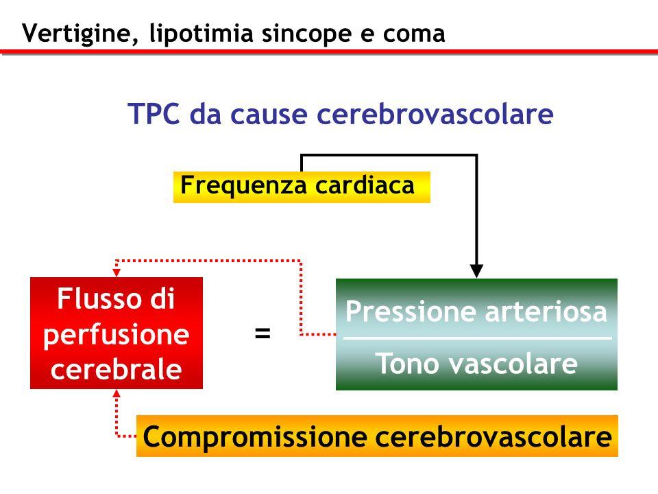 Vertigine, lipotimia sincope e coma Frequenza cardiaca Flusso di perfusione cerebrale Pressione arteriosa Tono vascolare = TPC da cause cerebrovascola
