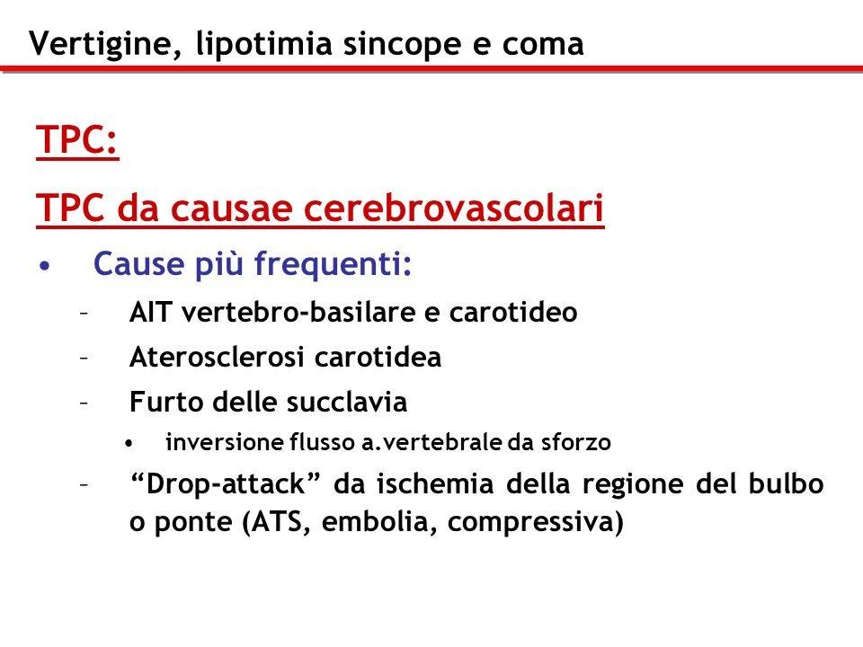 Vertigine, lipotimia sincope e coma TPC: TPC da causae cerebrovascolari Cause più frequenti: –A–AIT vertebro-basilare e carotideo –A–Aterosclerosi car