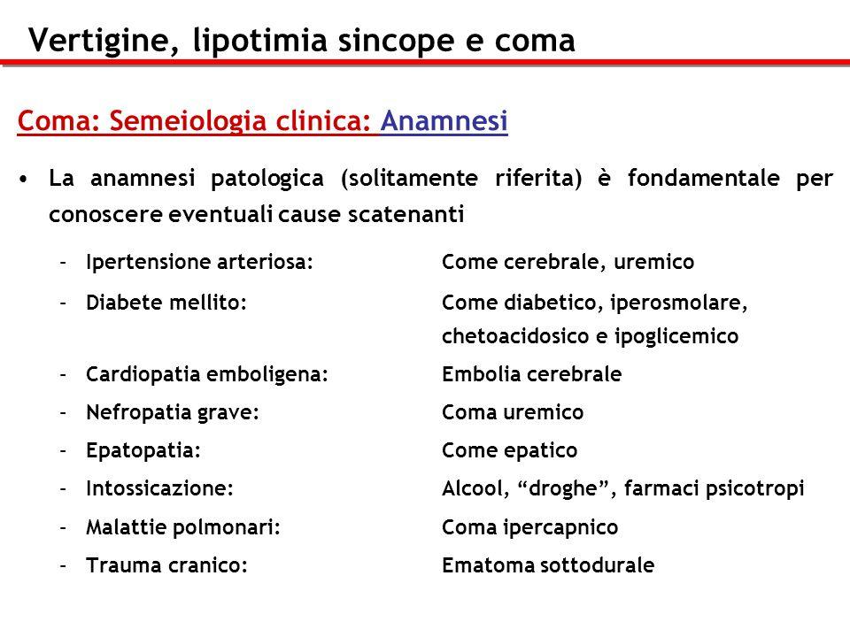 Vertigine, lipotimia sincope e coma Coma: Semeiologia clinica: Anamnesi La anamnesi patologica (solitamente riferita) è fondamentale per conoscere eve