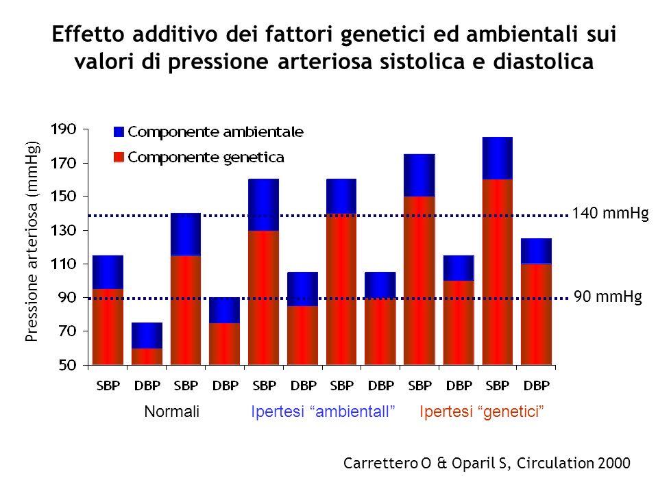 Effetto additivo dei fattori genetici ed ambientali sui valori di pressione arteriosa sistolica e diastolica Carrettero O & Oparil S, Circulation 2000