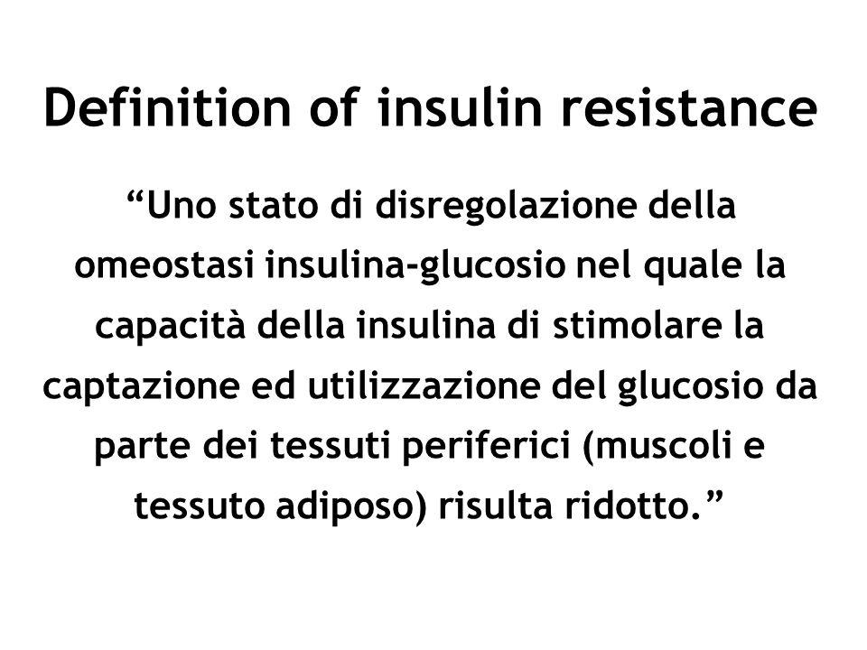 Definition of insulin resistance Uno stato di disregolazione della omeostasi insulina-glucosio nel quale la capacità della insulina di stimolare la ca