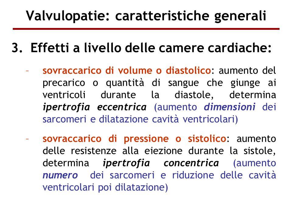 Valvulopatie: caratteristiche generali 3.Effetti a livello delle camere cardiache: –sovraccarico di volume o diastolico: aumento del precarico o quant