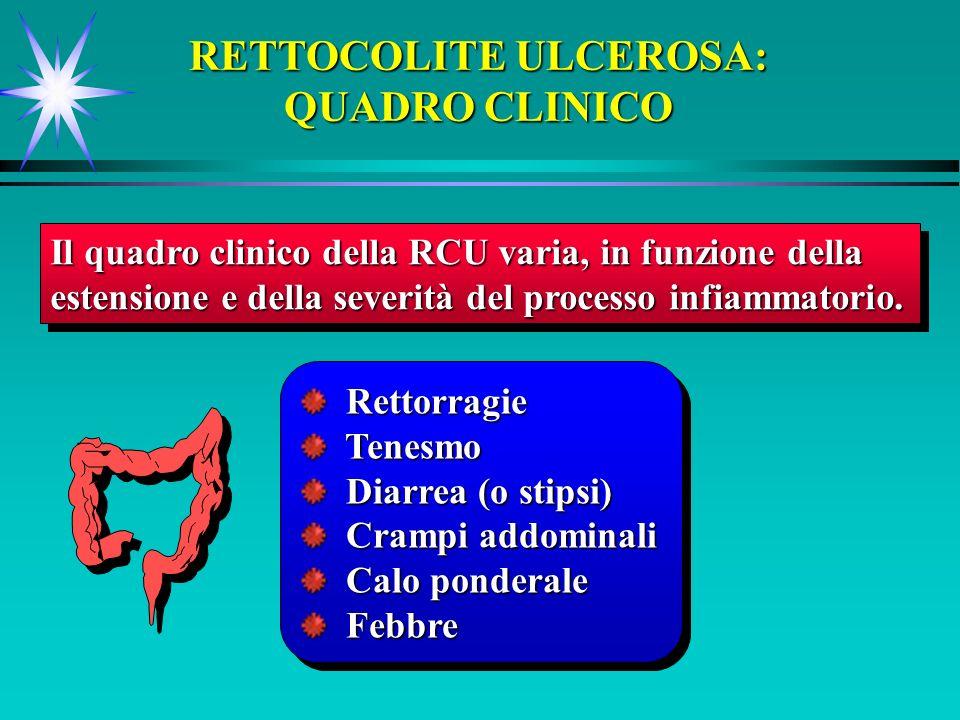 RETTOCOLITE ULCEROSA: QUADRO CLINICO Il quadro clinico della RCU varia, in funzione della estensione e della severità del processo infiammatorio. Il q