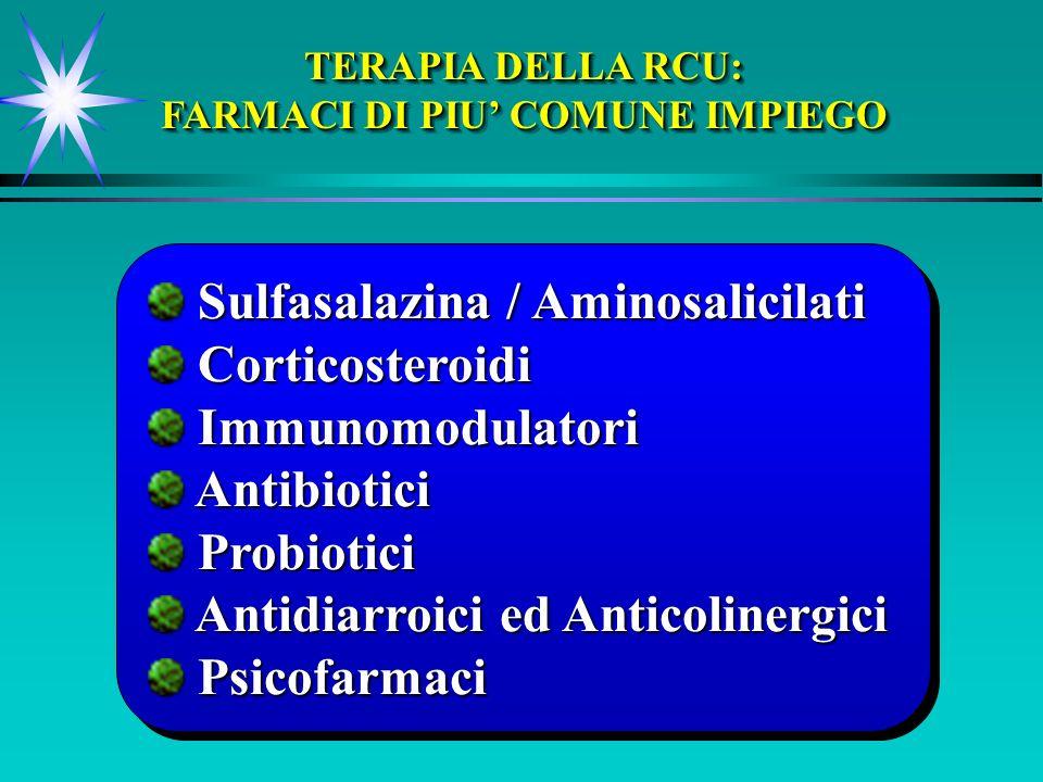 Sulfasalazina / Aminosalicilati Sulfasalazina / Aminosalicilati Corticosteroidi Corticosteroidi Immunomodulatori Immunomodulatori Antibiotici Antibiotici Probiotici Probiotici Antidiarroici ed Anticolinergici Antidiarroici ed Anticolinergici Psicofarmaci Psicofarmaci Sulfasalazina / Aminosalicilati Sulfasalazina / Aminosalicilati Corticosteroidi Corticosteroidi Immunomodulatori Immunomodulatori Antibiotici Antibiotici Probiotici Probiotici Antidiarroici ed Anticolinergici Antidiarroici ed Anticolinergici Psicofarmaci Psicofarmaci TERAPIA DELLA RCU: FARMACI DI PIU COMUNE IMPIEGO TERAPIA DELLA RCU: FARMACI DI PIU COMUNE IMPIEGO