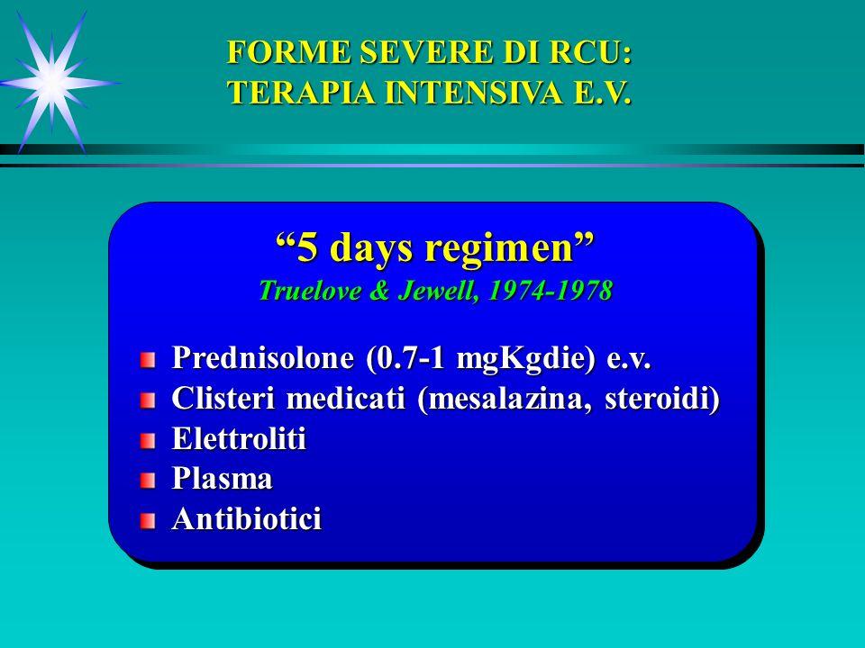 5 days regimen Truelove & Jewell, 1974-1978 FORME SEVERE DI RCU: TERAPIA INTENSIVA E.V. Prednisolone (0.7-1 mgKgdie) e.v. Clisteri medicati (mesalazin