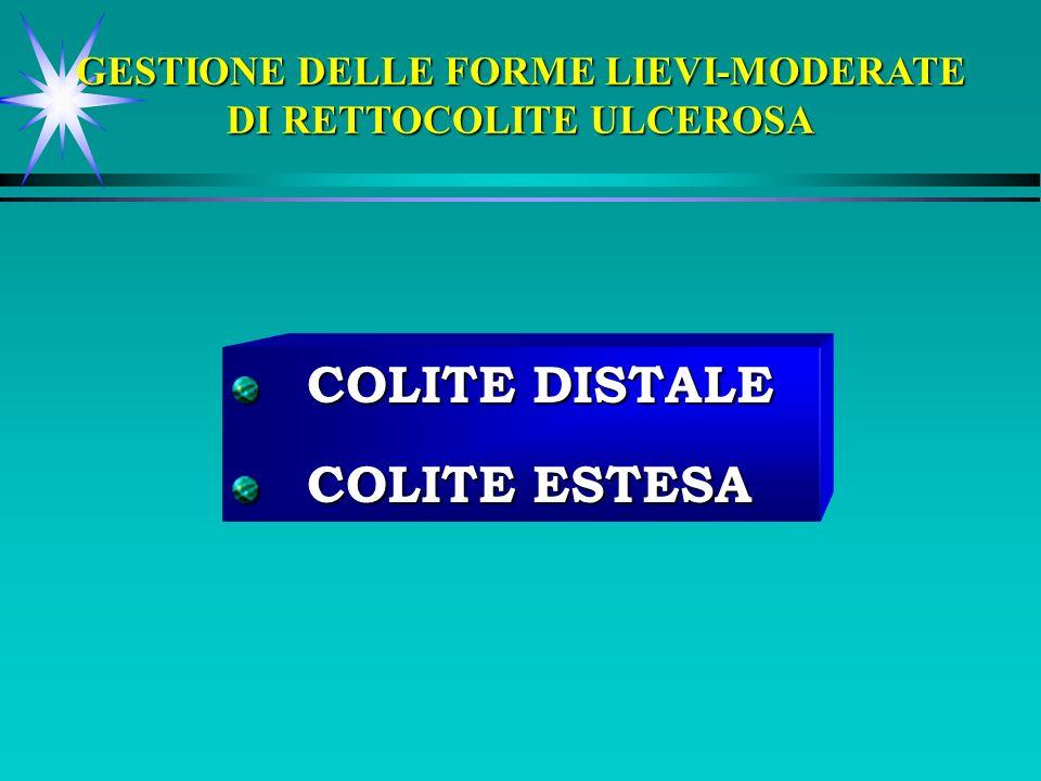 COLITE DISTALE COLITE DISTALE COLITE ESTESA COLITE ESTESA GESTIONE DELLE FORME LIEVI-MODERATE DI RETTOCOLITE ULCEROSA