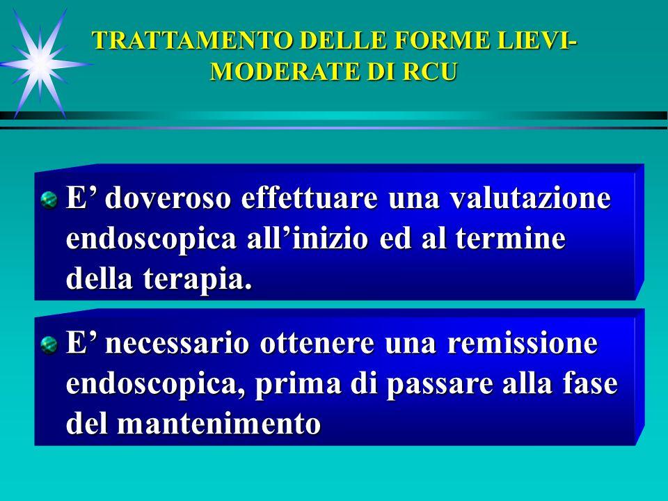 TRATTAMENTO DELLE FORME LIEVI- MODERATE DI RCU E doveroso effettuare una valutazione endoscopica allinizio ed al termine della terapia. E necessario o