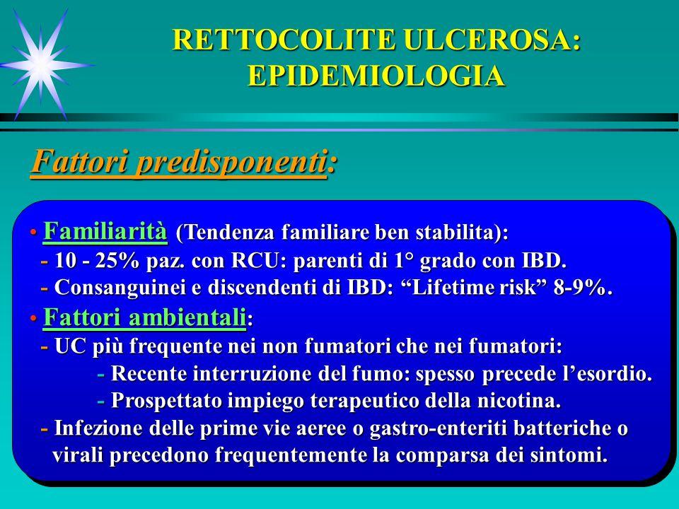 RETTOCOLITE ULCEROSA: EPIDEMIOLOGIA Fattori predisponenti: Familiarità (Tendenza familiare ben stabilita): Familiarità (Tendenza familiare ben stabili