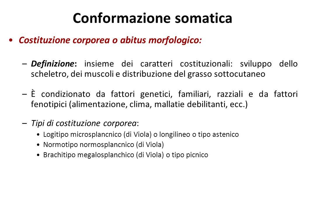 Conformazione somatica Costituzione corporea o abitus morfologico: –Definizione: insieme dei caratteri costituzionali: sviluppo dello scheletro, dei m