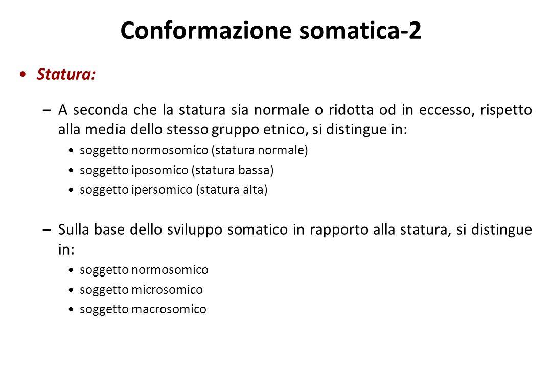 Conformazione somatica-2 Statura: –A seconda che la statura sia normale o ridotta od in eccesso, rispetto alla media dello stesso gruppo etnico, si di