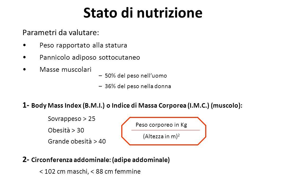Parametri da valutare: Peso rapportato alla statura Pannicolo adiposo sottocutaneo Masse muscolari 1- Body Mass Index (B.M.I.) o Indice di Massa Corpo