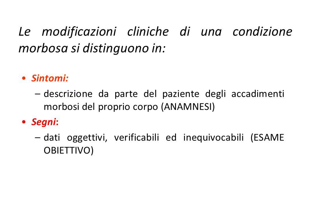 Sintomi: –descrizione da parte del paziente degli accadimenti morbosi del proprio corpo (ANAMNESI) Segni: –dati oggettivi, verificabili ed inequivocab