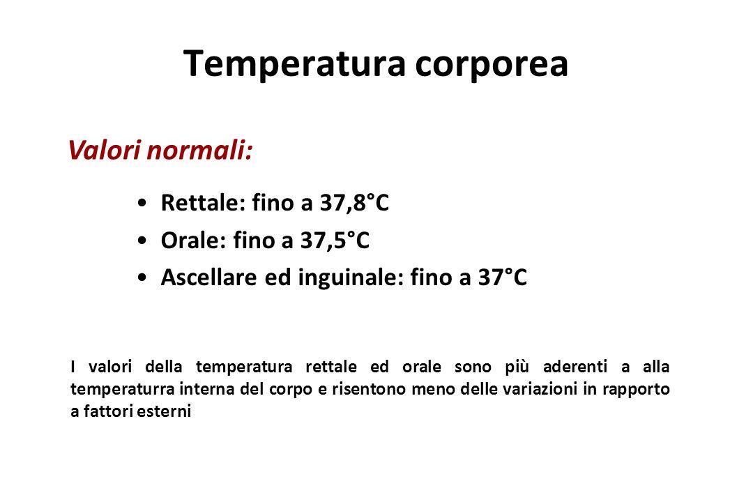 Temperatura corporea Rettale: fino a 37,8°C Orale: fino a 37,5°C Ascellare ed inguinale: fino a 37°C Valori normali: I valori della temperatura rettal