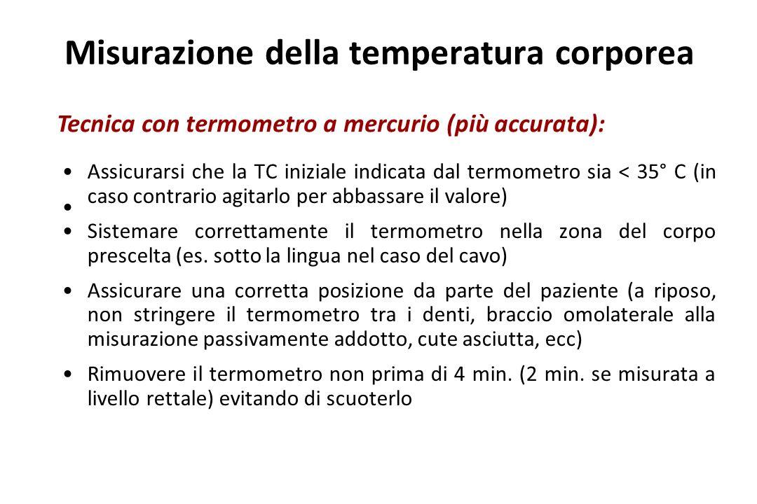 Misurazione della temperatura corporea Assicurarsi che la TC iniziale indicata dal termometro sia < 35° C (in caso contrario agitarlo per abbassare il