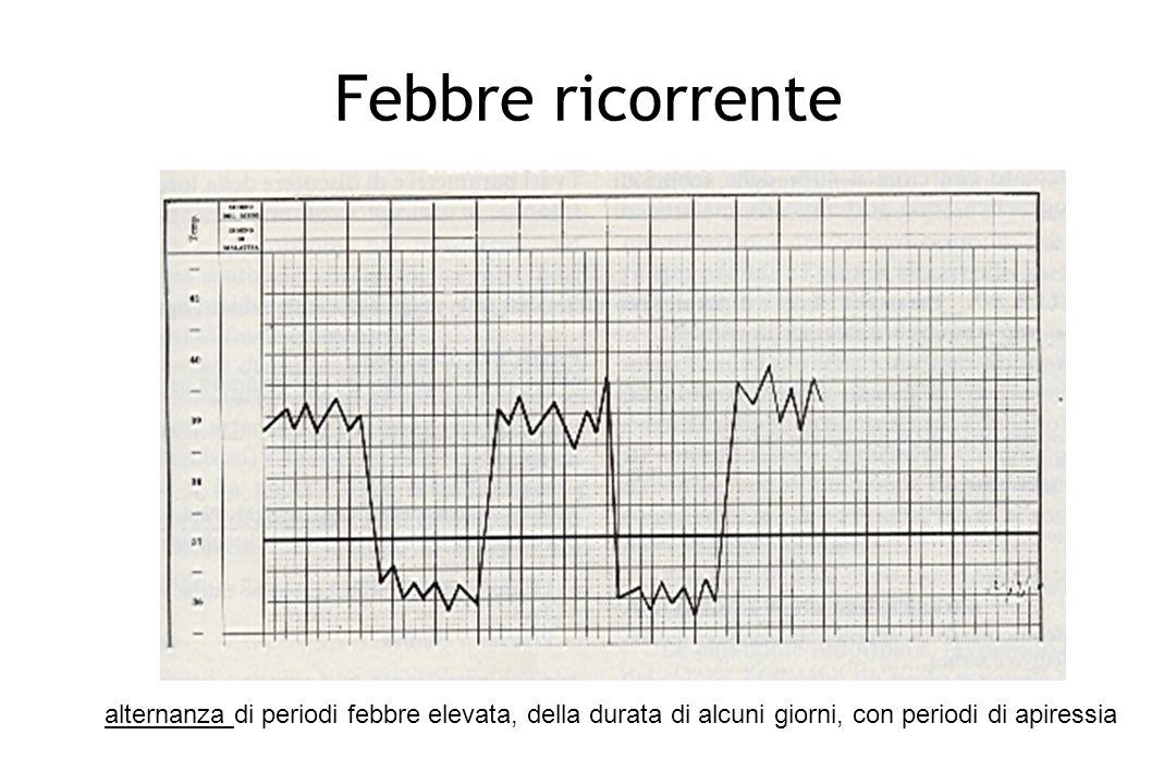 Febbre ricorrente alternanza di periodi febbre elevata, della durata di alcuni giorni, con periodi di apiressia