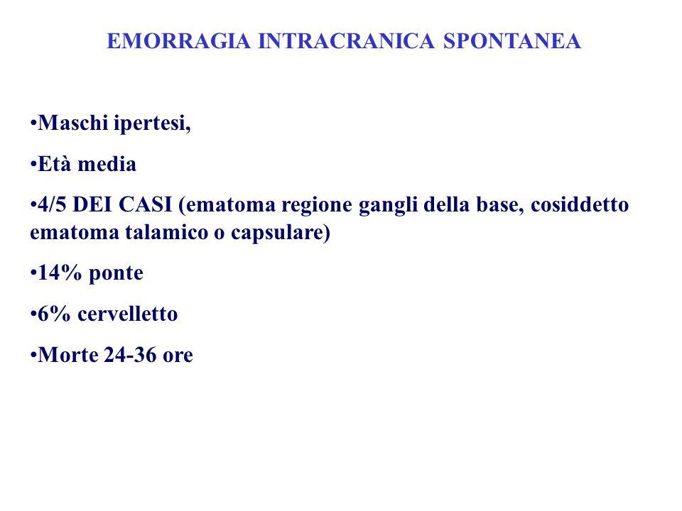 EMORRAGIA INTRACRANICA SPONTANEA Maschi ipertesi, Età media 4/5 DEI CASI (ematoma regione gangli della base, cosiddetto ematoma talamico o capsulare)