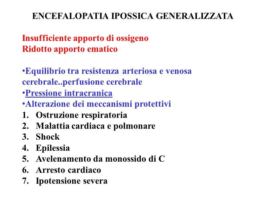 ENCEFALOPATIA IPOSSICA GENERALIZZATA Insufficiente apporto di ossigeno Ridotto apporto ematico Equilibrio tra resistenza arteriosa e venosa cerebrale.
