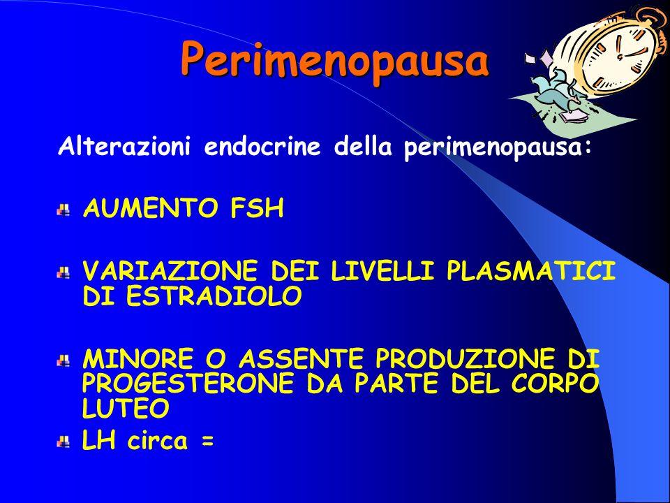 Perimenopausa Alterazioni endocrine della perimenopausa: AUMENTO FSH VARIAZIONE DEI LIVELLI PLASMATICI DI ESTRADIOLO MINORE O ASSENTE PRODUZIONE DI PR