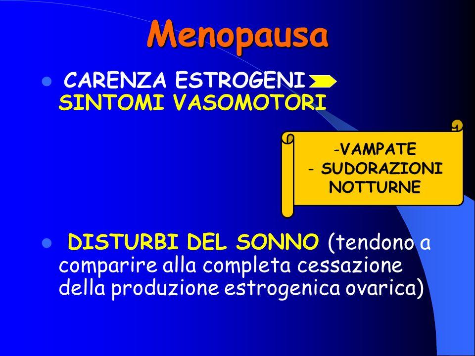Menopausa CARENZA ESTROGENI SINTOMI VASOMOTORI DISTURBI DEL SONNO (tendono a comparire alla completa cessazione della produzione estrogenica ovarica)