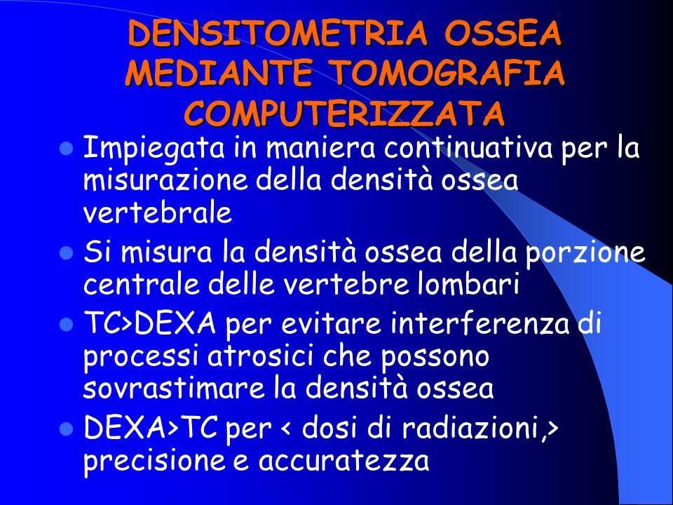 DENSITOMETRIA OSSEA MEDIANTE TOMOGRAFIA COMPUTERIZZATA Impiegata in maniera continuativa per la misurazione della densità ossea vertebrale Si misura l