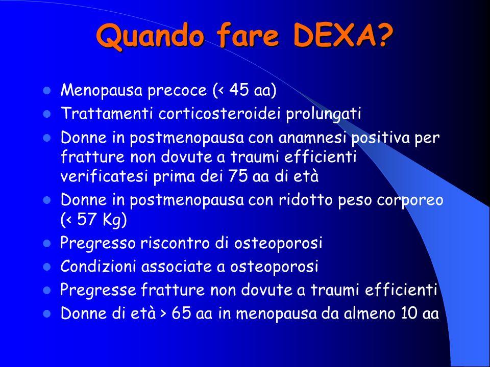 Quando fare DEXA? Menopausa precoce (< 45 aa) Trattamenti corticosteroidei prolungati Donne in postmenopausa con anamnesi positiva per fratture non do