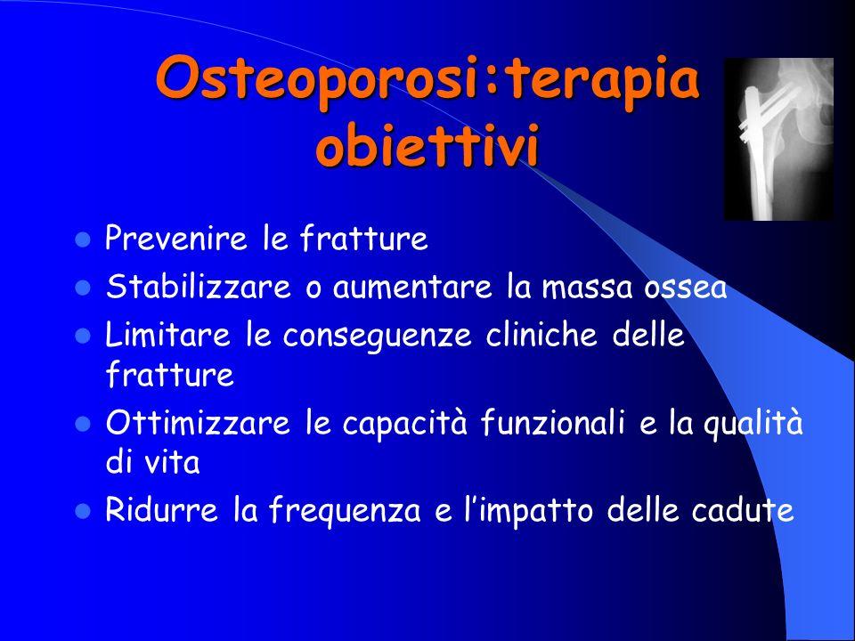 Osteoporosi:terapia obiettivi Prevenire le fratture Stabilizzare o aumentare la massa ossea Limitare le conseguenze cliniche delle fratture Ottimizzar