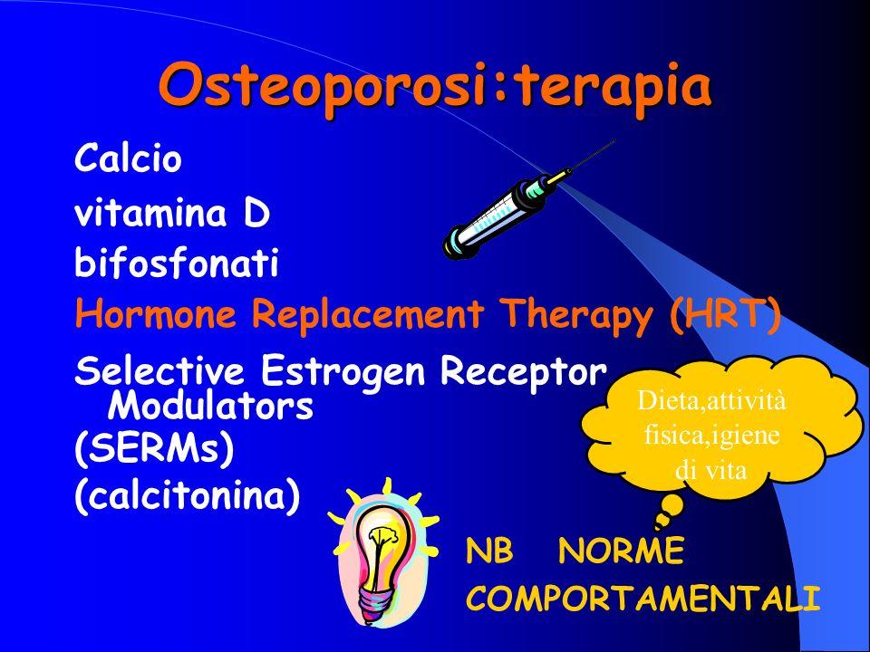 Osteoporosi:terapia Calcio vitamina D bifosfonati Hormone Replacement Therapy (HRT) Selective Estrogen Receptor Modulators (SERMs) (calcitonina) NB NO