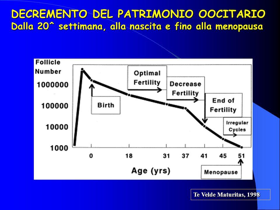Te Velde Maturitas, 1998 DECREMENTO DEL PATRIMONIO OOCITARIO Dalla 20^ settimana, alla nascita e fino alla menopausa