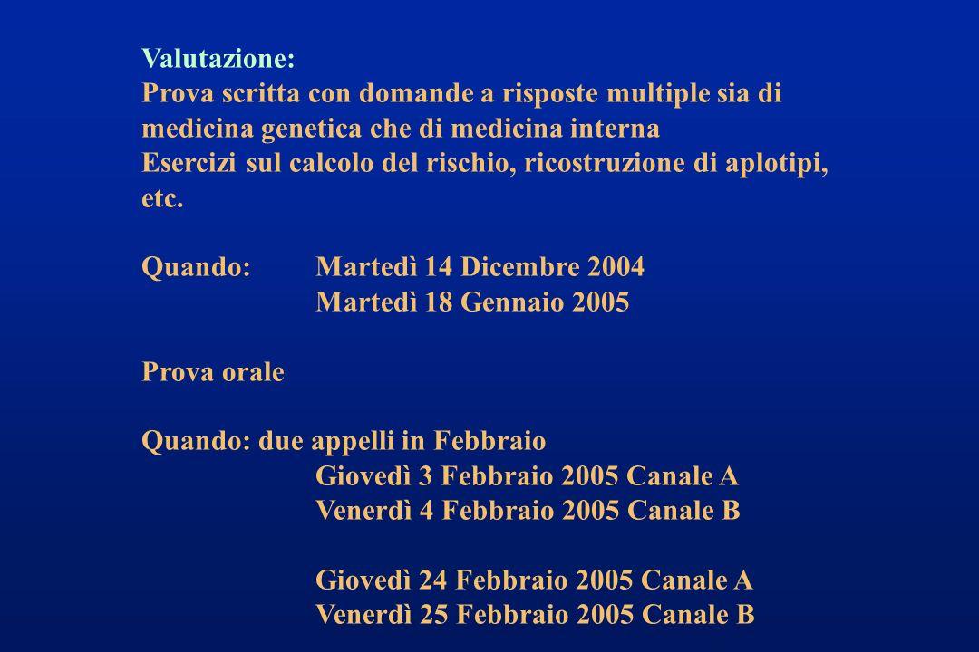 Valutazione: Prova scritta con domande a risposte multiple sia di medicina genetica che di medicina interna Esercizi sul calcolo del rischio, ricostru