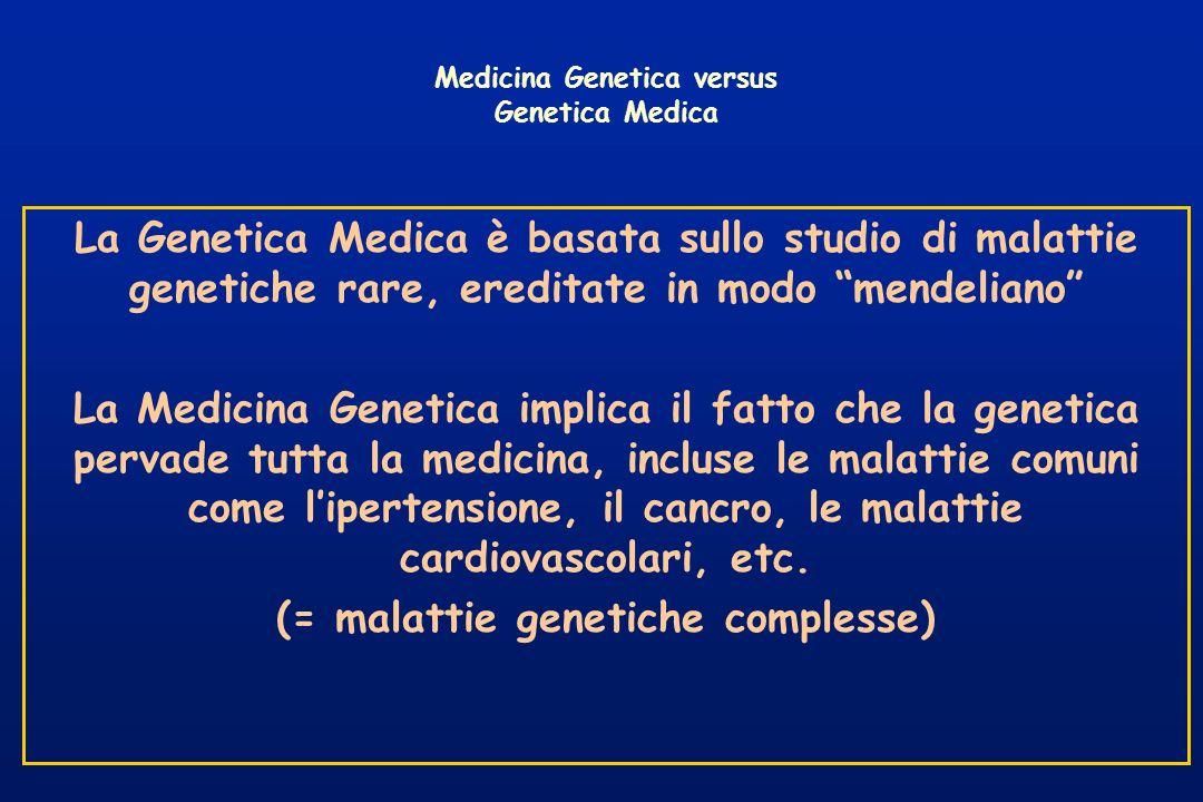 La Genetica Medica è basata sullo studio di malattie genetiche rare, ereditate in modo mendeliano La Medicina Genetica implica il fatto che la genetic
