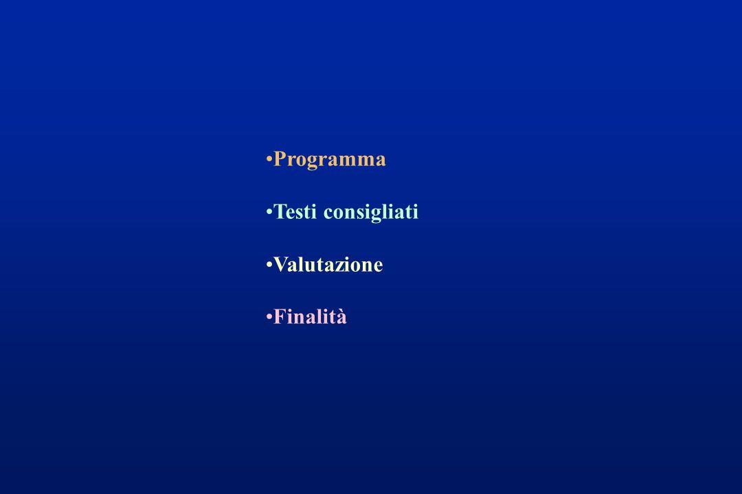 Programma Testi consigliati Valutazione Finalità
