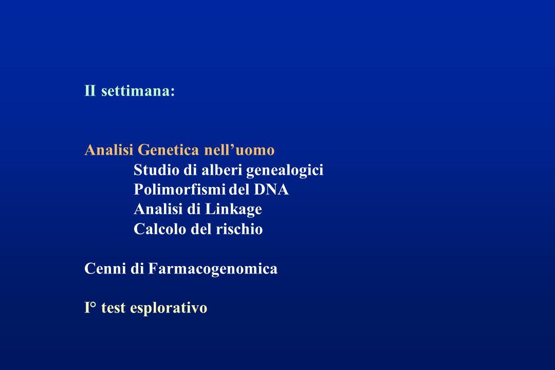 II settimana: Analisi Genetica nelluomo Studio di alberi genealogici Polimorfismi del DNA Analisi di Linkage Calcolo del rischio Cenni di Farmacogenom