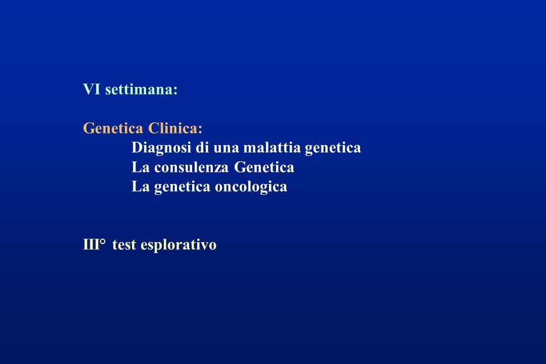 VI settimana: Genetica Clinica: Diagnosi di una malattia genetica La consulenza Genetica La genetica oncologica III° test esplorativo