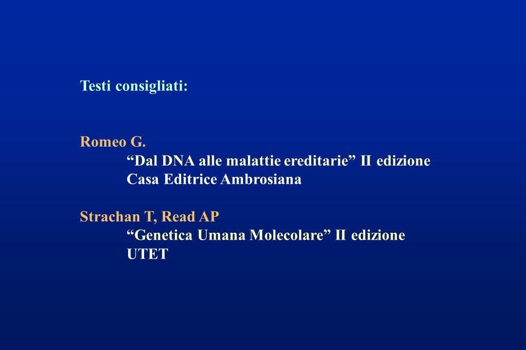 Testi consigliati: Romeo G. Dal DNA alle malattie ereditarie II edizione Casa Editrice Ambrosiana Strachan T, Read AP Genetica Umana Molecolare II edi