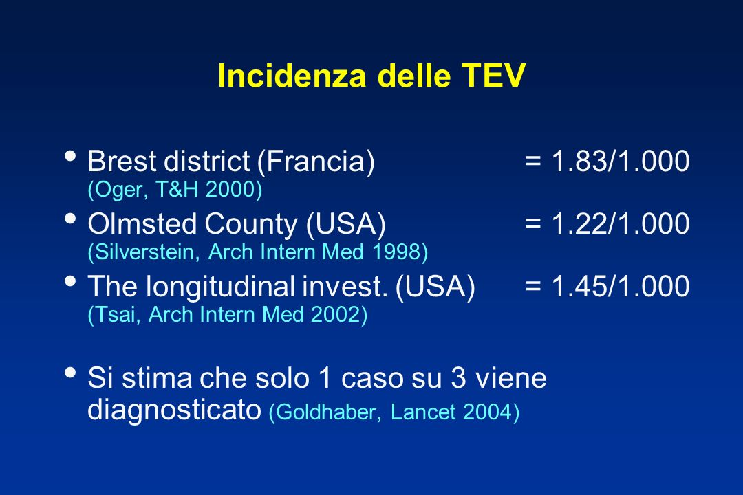 Incidenza delle TEV Brest district (Francia)= 1.83/1.000 (Oger, T&H 2000) Olmsted County (USA)= 1.22/1.000 (Silverstein, Arch Intern Med 1998) The lon
