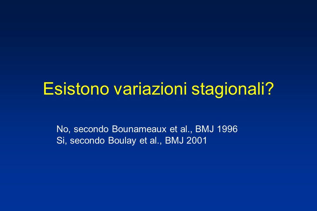 Esistono variazioni stagionali? No, secondo Bounameaux et al., BMJ 1996 Si, secondo Boulay et al., BMJ 2001