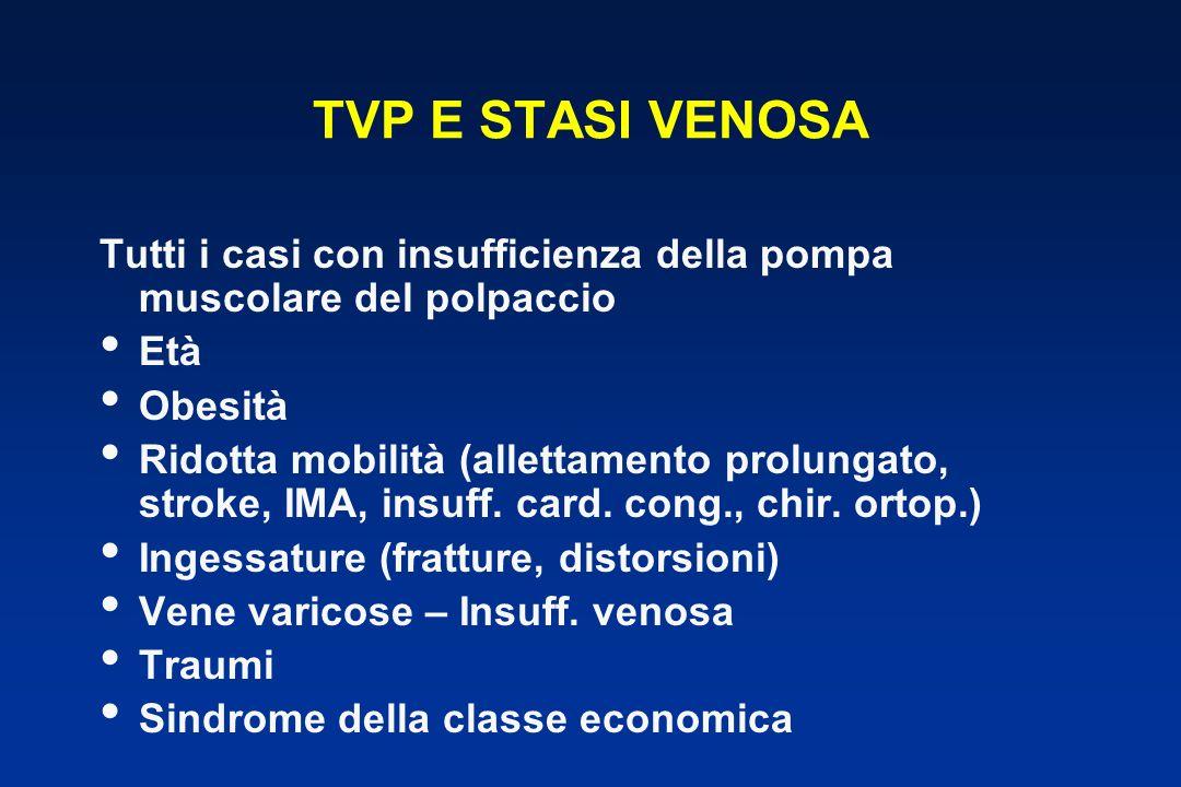 TVP E STASI VENOSA Tutti i casi con insufficienza della pompa muscolare del polpaccio Età Obesità Ridotta mobilità (allettamento prolungato, stroke, IMA, insuff.
