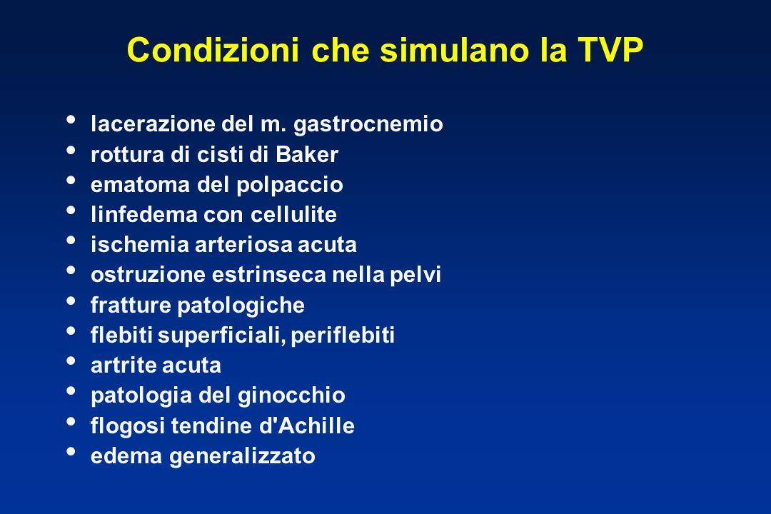 Condizioni che simulano la TVP lacerazione del m. gastrocnemio rottura di cisti di Baker ematoma del polpaccio linfedema con cellulite ischemia arteri