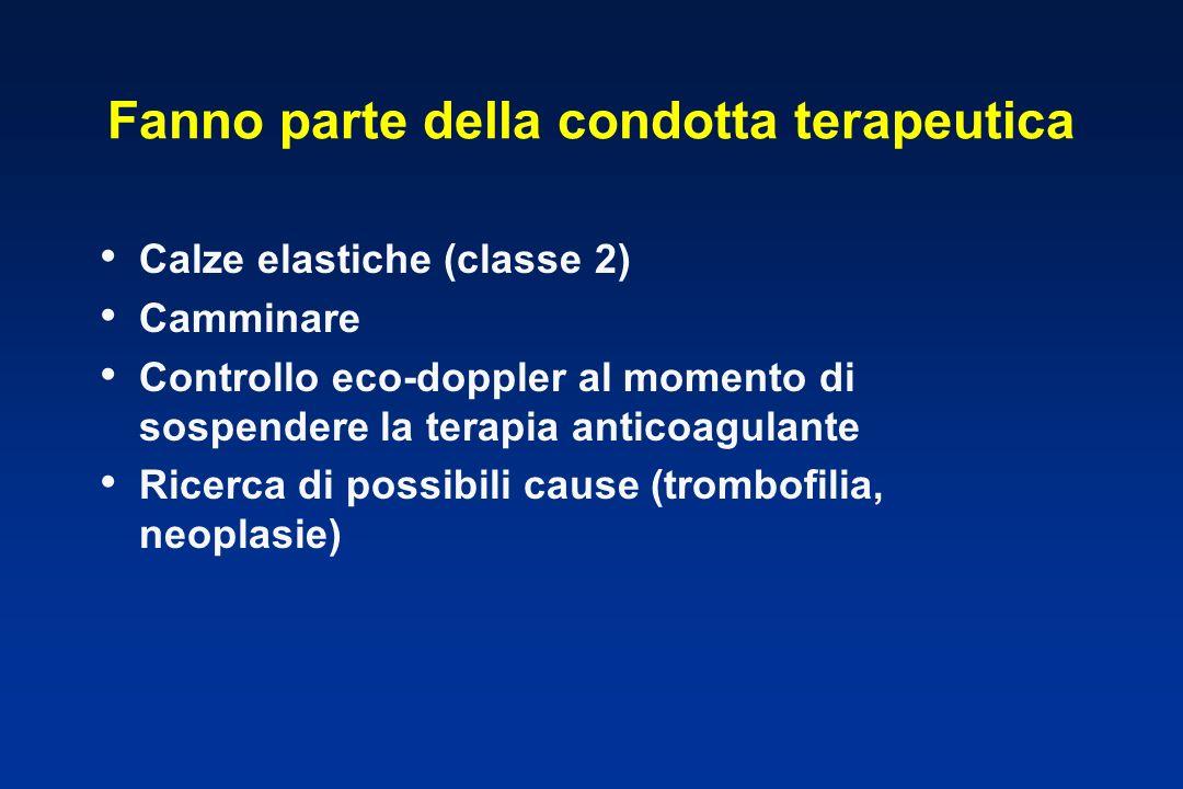 Fanno parte della condotta terapeutica Calze elastiche (classe 2) Camminare Controllo eco-doppler al momento di sospendere la terapia anticoagulante Ricerca di possibili cause (trombofilia, neoplasie)