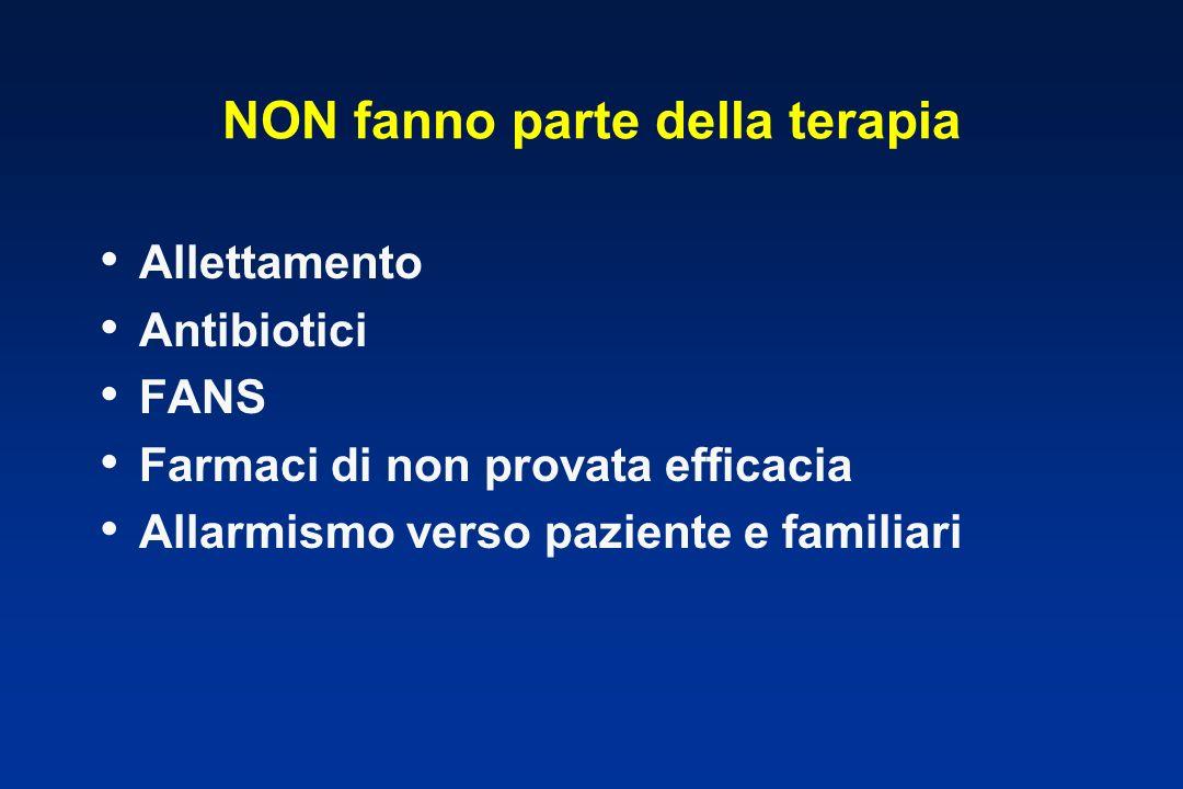 NON fanno parte della terapia Allettamento Antibiotici FANS Farmaci di non provata efficacia Allarmismo verso paziente e familiari