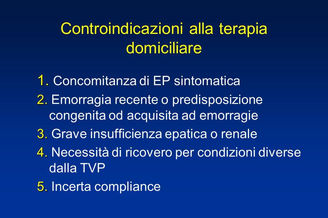 1. 1. Concomitanza di EP sintomatica 2. 2. Emorragia recente o predisposizione congenita od acquisita ad emorragie 3. 3. Grave insufficienza epatica o