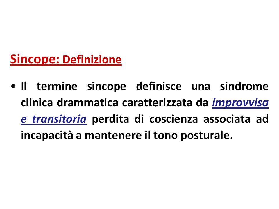 Sincope: Definizione Il termine sincope definisce una sindrome clinica drammatica caratterizzata da improvvisa e transitoria perdita di coscienza asso