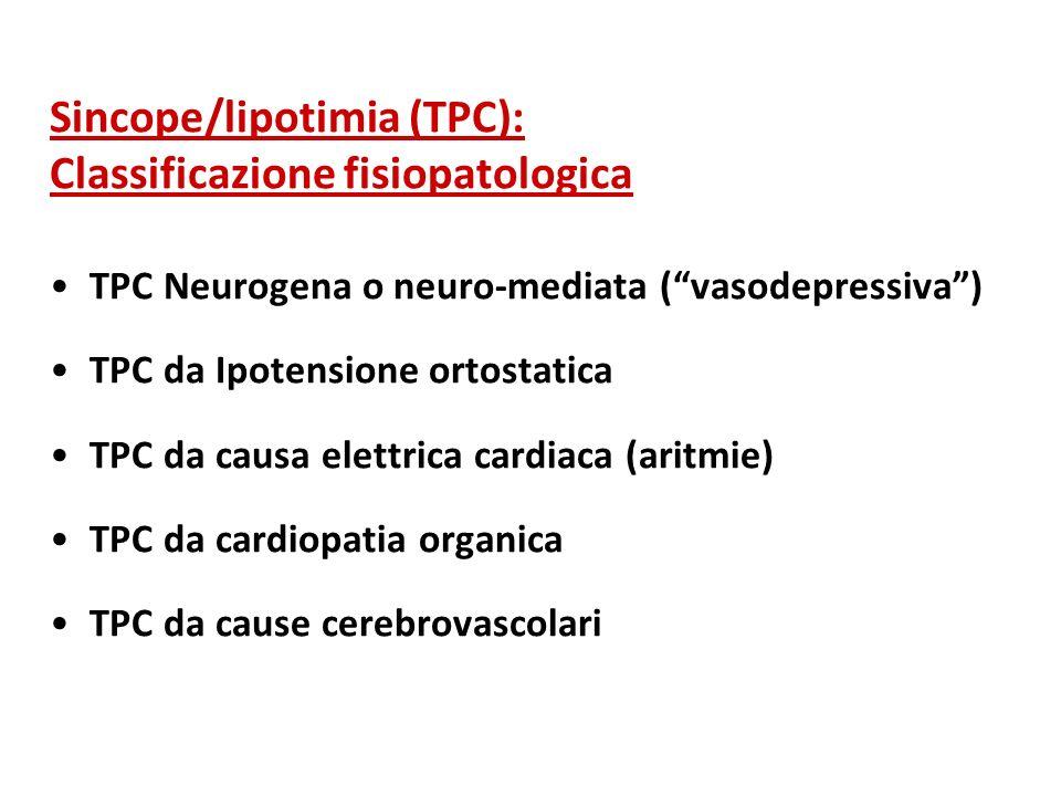Sincope/lipotimia (TPC): Classificazione fisiopatologica TPC Neurogena o neuro-mediata (vasodepressiva) TPC da Ipotensione ortostatica TPC da causa el