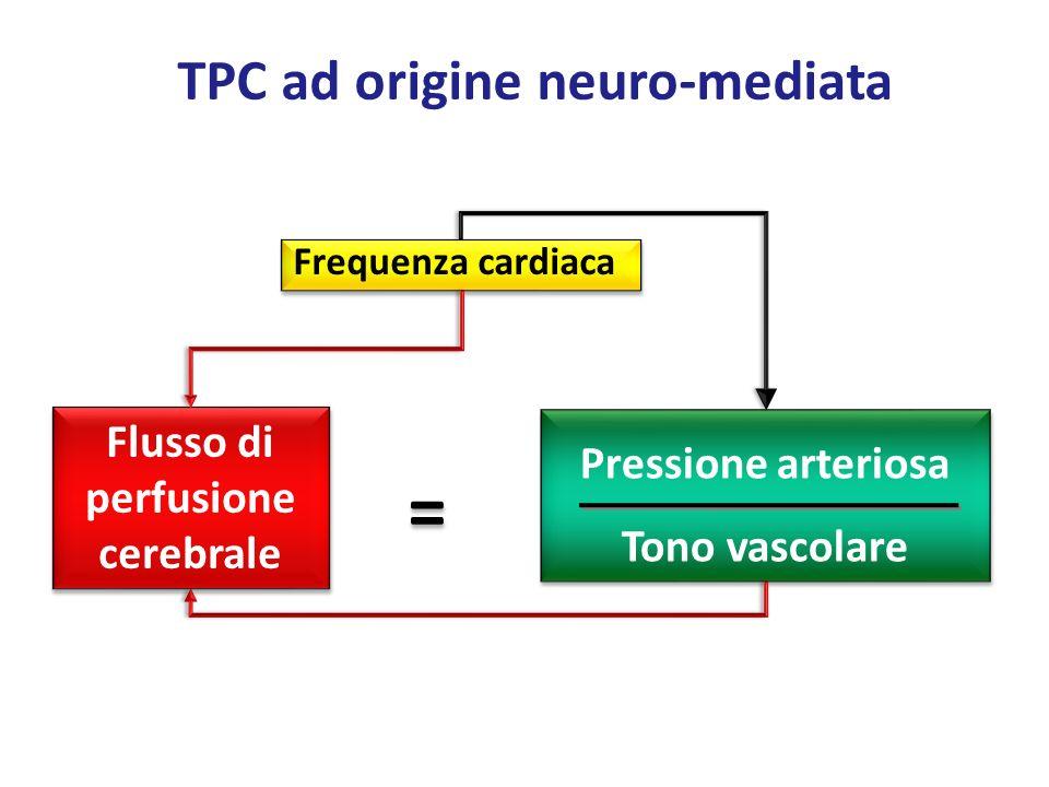Frequenza cardiaca Flusso di perfusione cerebrale Pressione arteriosa Tono vascolare = = TPC ad origine neuro-mediata