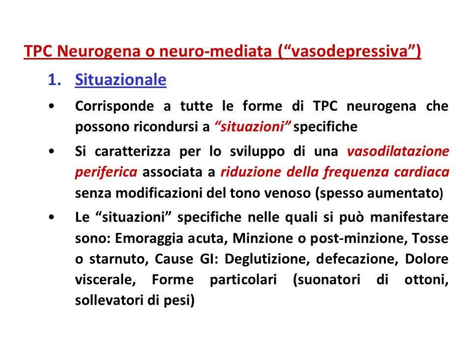 TPC Neurogena o neuro-mediata (vasodepressiva) 1.Situazionale Corrisponde a tutte le forme di TPC neurogena che possono ricondursi a situazioni specif
